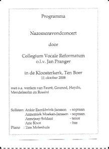 programma Nazomeravondconcert 2008